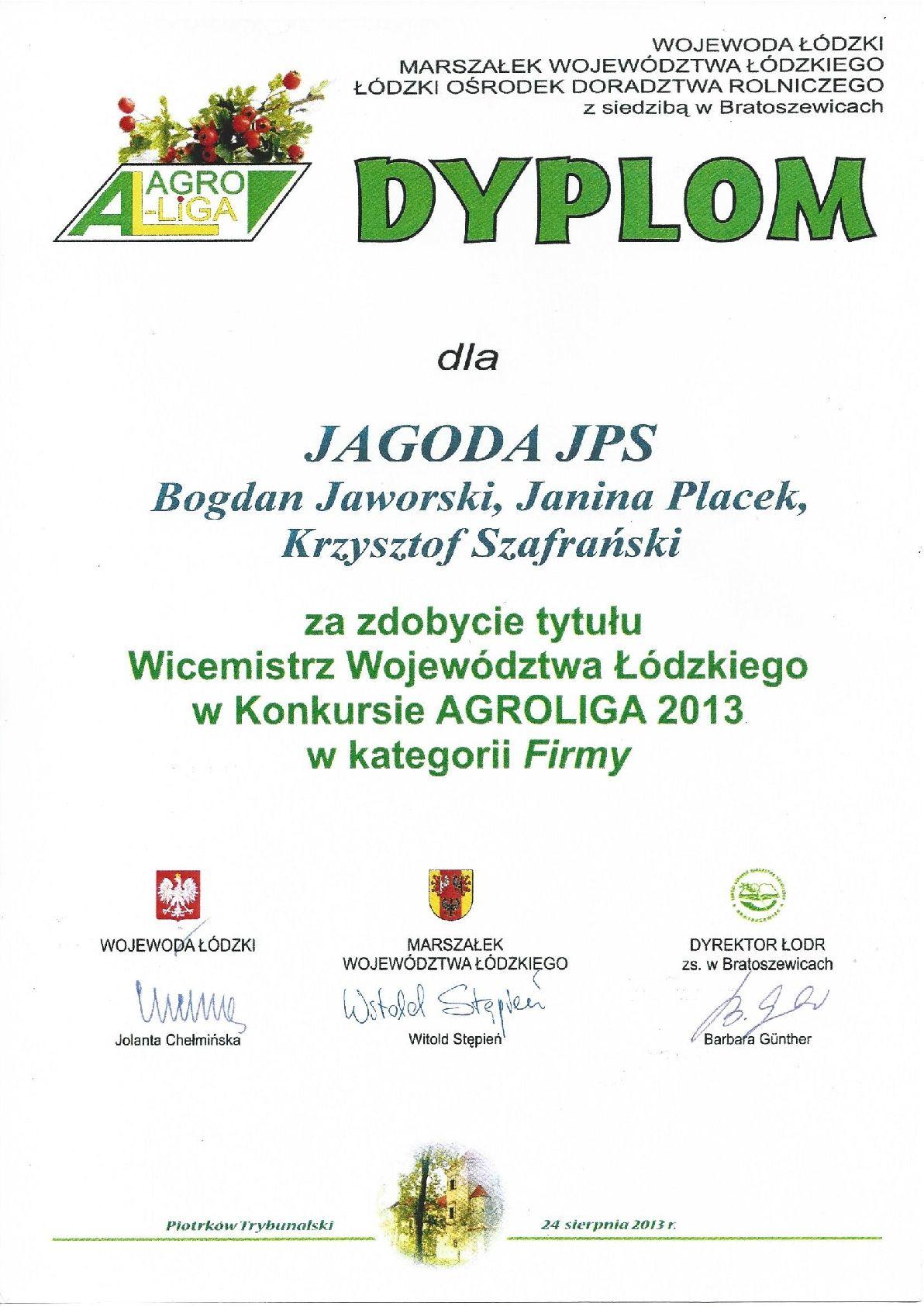 Dyplom Agroliga 2013